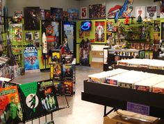 The Big Bang Theory set decor: comic book store... The green wall color IS kinda super!