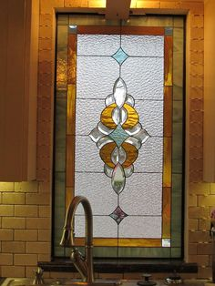 Lovely Stained & Beveled Glass Window above Kitchen Sink Window Art, Stained Glass Diy, Door Glass Design, Tempered Glass Door, Stained Glass Mosaic, Mosaic Glass, Wood Glass Door, Glass Design, Glass Window Art