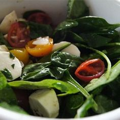 Spinach Caprese Salad | Spinach adds extra body to this always-classic dish.