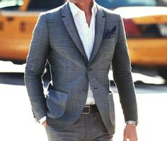 Fantastic grey #suit in plaid and classic, white cotton #shirt - great style! #Menswear