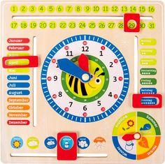 Tick-Tack! Die Zeit geht schneller rum, als man denkt und deshalb ist es wichtig, dass auch die Kleinen früh genug wissen wie sie funktioniert. Dank dieser süß gestalteten Uhr, die sowohl Datum, Uhrzeit als auch Jahreszeiten enthält, ist es ein Leichtes den Verlauf der Zeit spielerisch zu lernen. Kleine Pfeile und Kästchen ermöglichen es, die Zeit nach Belieben umzustellen.