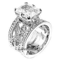 5 70ct Emerald Cut Heavy Wide Band Engagement Ring Sz 7 | eBay