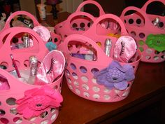 spa party gift baskets Brush, make up and polish for each girl :)