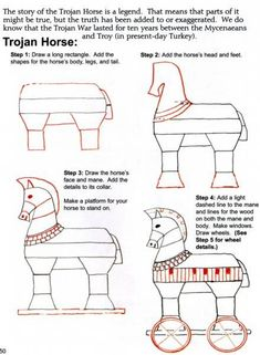 Cycle 1 Week 3 Upside Down drawing - Ancient Greece: free art lesson to draw a trojan horse by Draw and Write through History Ancient World History, Greek History, Study History, Mystery Of History, History Books, History Class, European History, Ancient Greek Art, Ancient Rome
