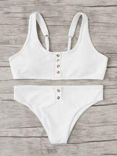Button Front Bikini Set -SheIn(Sheinside)