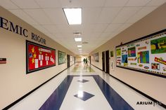 Middle school hallway, patterned VCT