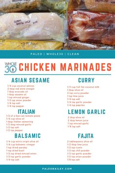 6 Whole30 Compliant DIY Freezer Chicken Marinades #whole30 #whole30chicken #paleochicken