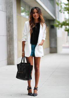 All clothing via Nordstrom: Blazer: Tildon  Crop top: ASTR  Shorts: Lucca Couture  Heels: Tildon Bag: Céline