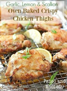 "Crispy Oven Fried Chicken with Garlic, Lemon and Scallions - Quick Marinade! #Whole30 #Paleo ""Repinned by Keva xo""."