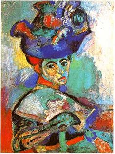 Henri Matisse Femme au chapeau 1905. Oh, what to say? Matisse was an avant-garde, modernist painter. Look at these expressive colors! I love how she just POPS out of the canvas at you.