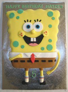 Spongebob fondant covered cake from Rosiescakes.wordpress.com