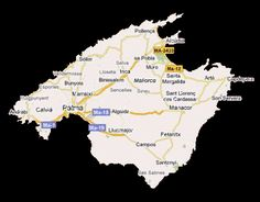 majorca map showing the city of palma, and many of the popular holiday resorts locations including magaluf, and alcudia.