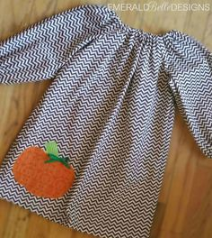 Fall Autumn Pumpkin Peasant Dress with Chevron for Baby/Toddler or Girl. Chevron dress with long sleeves for Thanksgiving or Halloween