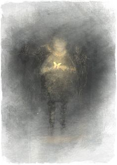 love the child emerging out of the gloom, his way lit only by luminescent wings