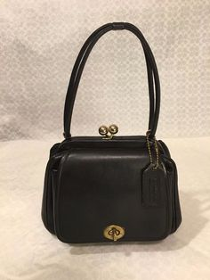 Vintage COACH Black Cashin DOUBLE KISS LOCK c.1950 BAG Handbag EXTREMLY RARE EXC #Coach #Vintage