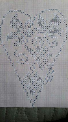 Mania Przerabiania's media content and analytics Cross Stitch Heart, Cross Stitch Samplers, Cross Stitching, Cross Stitch Embroidery, Cross Stitch Patterns, Free Crochet Doily Patterns, Filet Crochet Charts, Crochet Doilies, Fillet Crochet