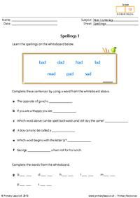 Literacy: Spellings 13   Worksheet   PrimaryLeap.co.uk Year 1 English Worksheets, Free Worksheets For Kids, Spelling Worksheets, Literacy Worksheets, Primary Resources, Progress Report, High Frequency Words, Type I, Printables