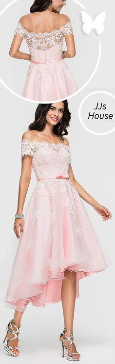 10b8b98c42e A-Line Princess Off-the-Shoulder Asymmetrical Organza Homecoming Dress With  Lace Beading Bow(s) dresses