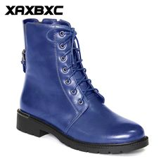 XAXBXC Retro British Style Leather Brogues Oxfords Blue Short Boot Women  Shoes Metal Buckle Round Toe Handmade Casual Lady Shoes. 5f7f5895cf95