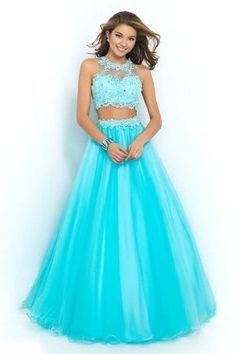 Jewel Sleeveless Beading Floor-length Tulle Ball Gown Dresses - Two Piece Prom Dresses - Prom Dresses Blush Prom Dress, Cute Prom Dresses, Pretty Dresses, Homecoming Dresses, Beautiful Dresses, Long Dresses, Dress Long, Dress Prom, Dresses Dresses
