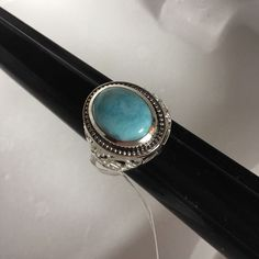 Larimar Ring Blue Stone Sterling .925 Silver Marked Carving On Side Size--10 #Carveddesign