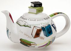 A book, a comfortable chair, a free hour or two, and your own pot of tea. Bliss. From British designer Paul Cardew, porcelain pot is embellished with books, titles, and the names of famous authors ~ Book Lover's Teapot