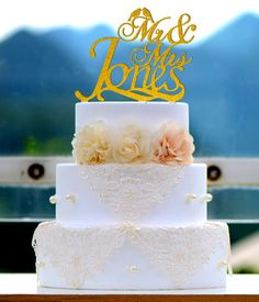 Wedding Cake Topper Monogramm Mr und Mrs cake Topper von bridenew