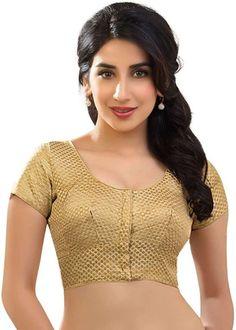 Designer dupian silk katori style gold brocade saree blouse sari choli - kt-5 with beautiful gold pouch clothing. Sari Blouse, Gold Blouse, Saree Blouse Patterns, Saree Blouse Designs, Choli Designs, Blouse Neck, Brocade Saree, Brocade Blouses, Designer Blouses Online
