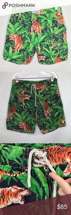32d5b06528bc23 VTG 90s Polo Ralph Lauren Tiger Jungle Swim Shorts Men s Vintage 90s Rare Polo  Ralph Lauren