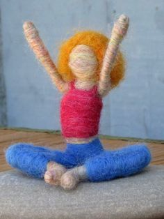 Hanna the Needle Felted Yoga Doll blond Original by boridolls, $26.00