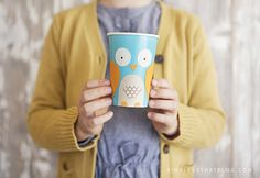 DIY Woodland Creature Cup Crafts. How cute is that owl cup!