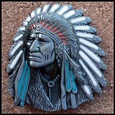 Old West Indian Warrior Chief belt buckle biker motorcycle Native American   bikeraa.com