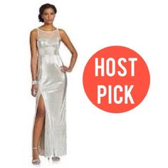 ❄️ Host Pick 💖 Foil Pleat Illusion Gown Brand: Hailey By Adrianna Papell Size: 4 Color: silver Material: polyester  This tank gown features an illusion neckline and pleated skirt with a sexy slit (right side) for the perfect amount of style and grace.   ❄️ THIS ITEM IS LOCATED IN BOSTON AND CAN ONLY BE BUNDLED WITH OTHER ITEMS IN BOSTON! ---  * OFFERS VIA PRIVATE FEATURE ONLY. * NO SWAPS * SMOKE/PET-FREE HOME * FOR 10% OFF FOLLOW ME:  📱 CuppaKen 🎥 NeneKennedy 🐣 CuppaKen 🌐 CuppaKen.com…