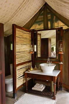 ever wonder  what a fancy bathroom in a tent looks  like?