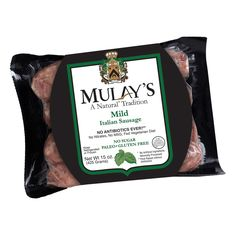 Mulays Mild Italian Sausage - Mulay's sausage is made from Never Ever, Antibiotic Free Pork (ABF) that are vegetarian-fed and raised humanely. We visit the farms and processing facilities, designed by Temple Grandin, to personally ensure that the pork we are using is the very best, highest quality product available in the marketplace today. Mulay's Sausages are Free From: Nitrates, MSG, Sugar, Soy, Dairy, and all Allergens. #paleo #certifiedpaleo