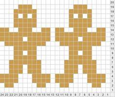 New Chart gingerbread man punch card idea Fair Isle Knitting Patterns, Knitting Charts, Knitting Stitches, Knitted Christmas Stockings, Christmas Knitting, Crochet Diagram, Crochet Chart, Cross Stitch Embroidery, Cross Stitch Patterns