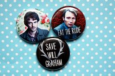 Hannibal One Inch Pinback Button Set by ThereWillBeButtons on Etsy. Hannibal, Fannibal, Will Graham.