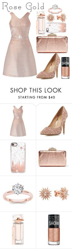 """so pretty : rose gold"" by prigelprasojo ❤ liked on Polyvore featuring Miss Selfridge, Head Over Heels by Dune, Casetify, KOTUR, Kenza Lee, Balenciaga and Maybelline"