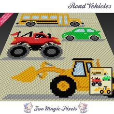 Road Vehicles is a c2c graph pattern for a children blanket featuring a bulldozer, a bus, a car and a monster truck.  This graph design is 80 squares wide by 100 squares high. It requires 9 colors for the vehicles plus 2 colors for the background.  Pattern PDF includes: - color illustration for reference - color square pattern  Image only, no written counts.  This listing is for a digital pattern only. The PDF file of the pattern will be available for instant download once payment is…