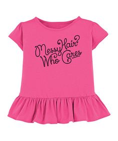 Loving this Hot Pink 'Messy Hair' Ruffle Tee - Toddler & Girls on #zulily! #zulilyfinds