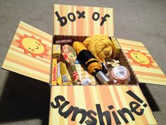 "Little Miss Suzy Q-""Box of Sunshine"" Package idea. @Kourtney Lavin Lavin this made me think of that super cute box you made for Zach!"