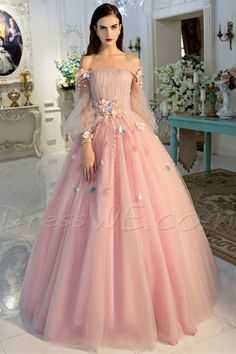 Princess Off The Shoulder Long Sleeve Applique Lace Up Ball Gown Dress 07c0269fd