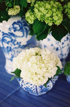 White flowers in blue & white,  The Pink Pagoda: Blue & White Monday, Happy St. Patrick's Day