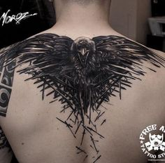 crow tattoo on back