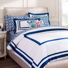 Pottery barn option for Liz's room I love this idea of navy with an ocean blue.