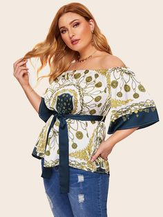 8d7505dbae66c Plus Asymmetrical Hem Tropical   Stripe Print Top in 2019