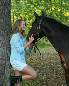 senior girl with horse photo