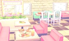 i've made cute diners in every version of ac, so i figured i should continue the tradition ! Animal Crossing Pocket Camp, Animal Crossing Game, Animal Games, My Animal, Motif Acnl, Ac New Leaf, Pastel Room, Happy Home Designer, City Folk