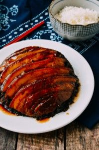 Mei Cai Kou Rou (Steamed Pork Belly w/ Preserved Mustard Greens), by thewoksoflife.com