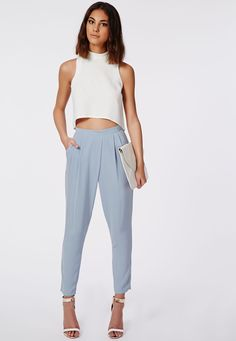 Louisa Pleat Front Tapered Leg Trousers Powder Blue - Trousers - Missguided